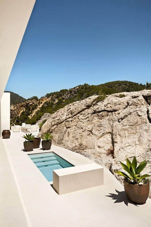tiny plunge pool in palest stone terrace