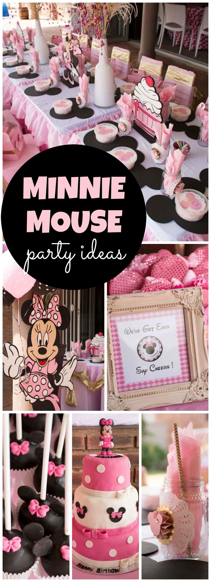 This Minnie Mouse party has pretty pink and gold accents! See more party ideas at CatchMyParty.com!