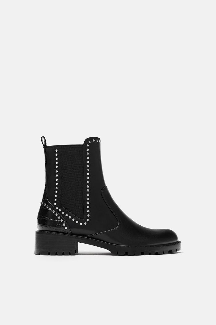 Zara Flat Ankle Boots With Studs Boots Ankle Boots Flat Black Flat Ankle Boots