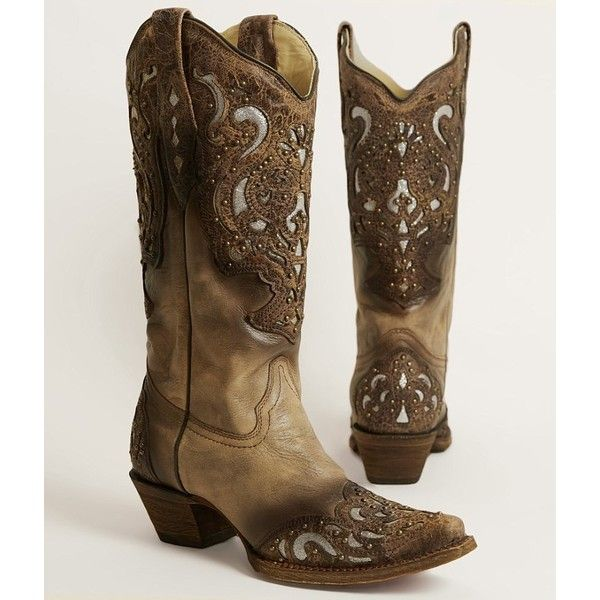 Corral Studded Cowboy Boot ($299) ❤ liked on Polyvore featuring shoes, boots, brown, glitter cowboy boots, corral boots, tall cowgirl boots, vintage cowboy boots and tall western boots