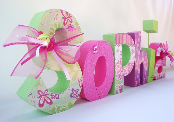 Nursery Wooden Letters Boutique Letters Baby by thepatternbag, $77.94