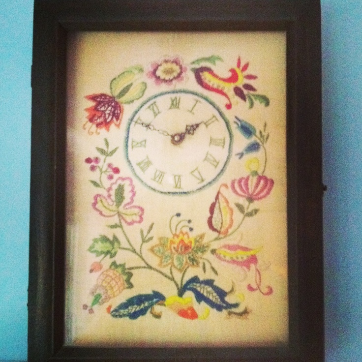 A Crewel Embroidery Clock My Great-grandmother Made