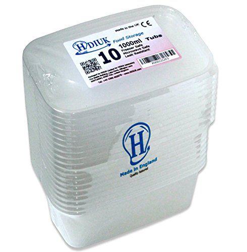 HDIUK micro-ondes/congélateur Boîtes à lunch en plastique/récipients alimentaires + Couvercles pour cuisson Lot prêt à vos repas, Chilli,…