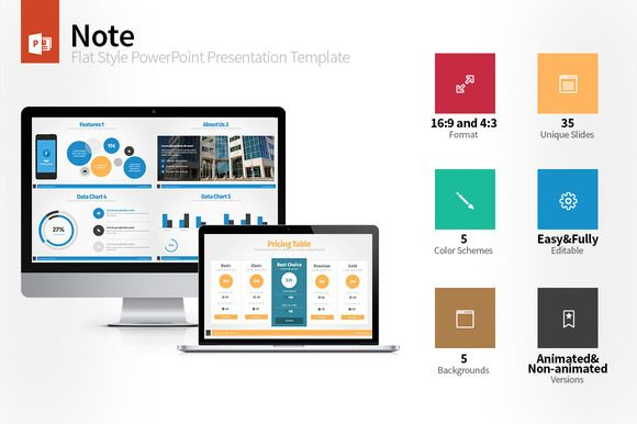 Check out Note Flat Style PowerPoint Template by hey! on Creative Market