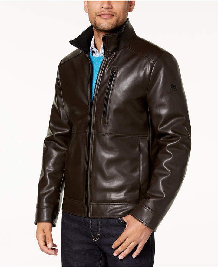 Calvin Klein Men's Faux Leather Jacket, Created for Macy's & Reviews - Coats  & Jackets - Men - Macy's | Faux leather jacket men, Leather jacket, Leather  jacket men