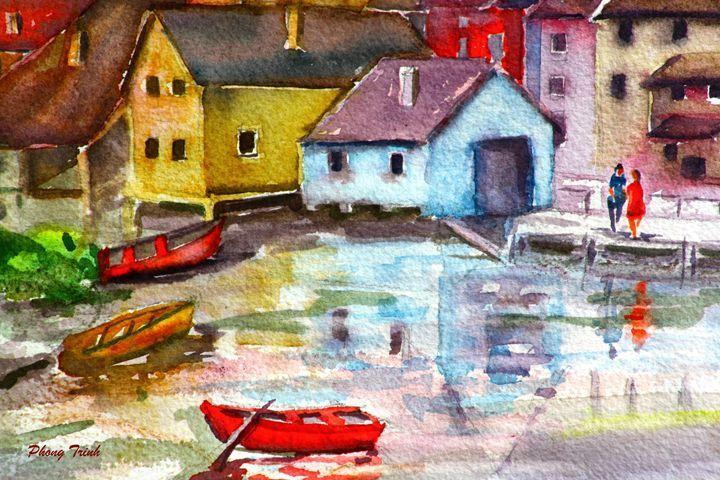 Lods Sur La Loue 16 - Phong Trinh Watercolor Fine Art Print Avail. At: http://www.artpal.com/phongtrinh/