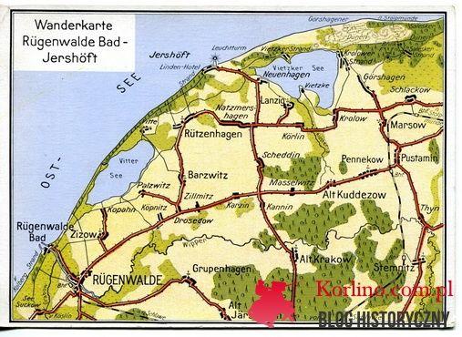Kartka pocztowa Wanderkarte Rügenwalde Bad - Jershöft Jarosławiec