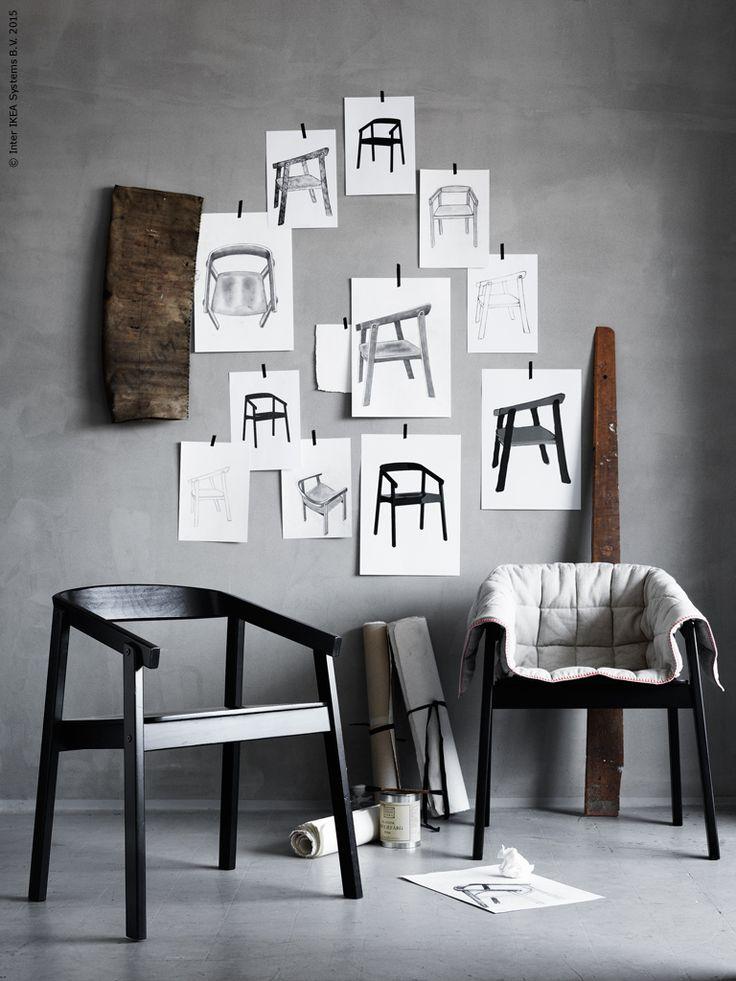 Med sina tydliga linjer är den grafiskt svarta stolen ESBJÖRN lika stilig ur alla vinklar.
