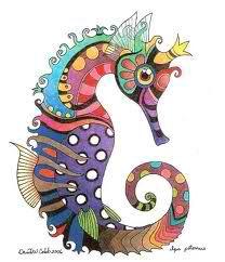 Colorful seahorse  Applique idea  Via: fossils-facts-and-finds.com