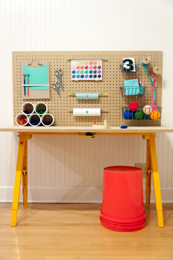 DIY Craft Station for Kids- perfect station for all of those arts and crafts.