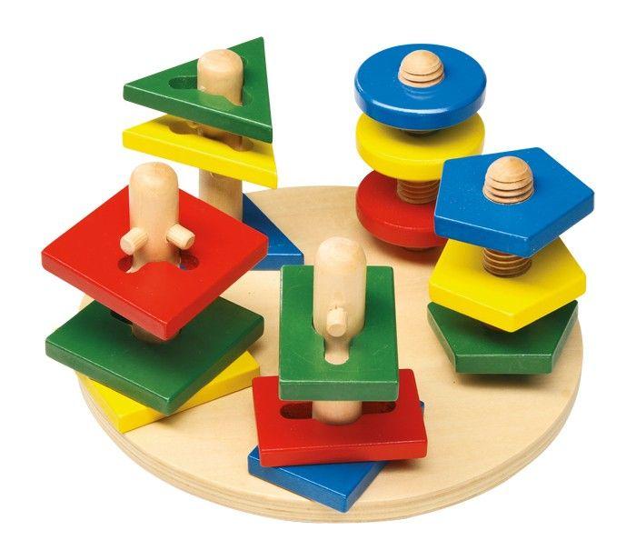 www.malinowyslon.pl Wieże motoryczne Na 2 wieżach z gwintem i na 3 wieżach z różnie umieszczonymi przeszkodami trzeba umieścić odpowiednie kolorowe figury geometryczne. Mądra zabawa, kształtująca umiejętności manualne i koordynację!