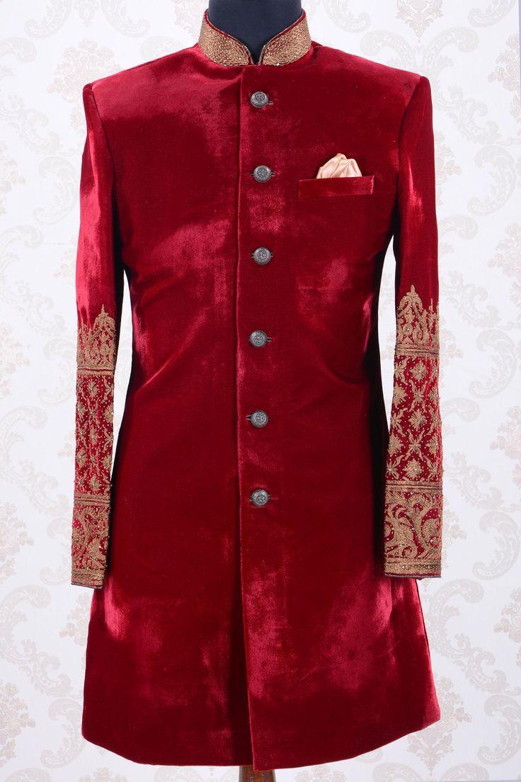 Indowestern Sherwani-Deep Red-Zari work-IW694