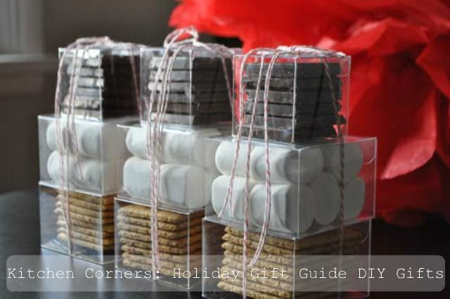 S'more tower gift - make it even better with homemade marshmallows, graham crackers and good dark chocolate.
