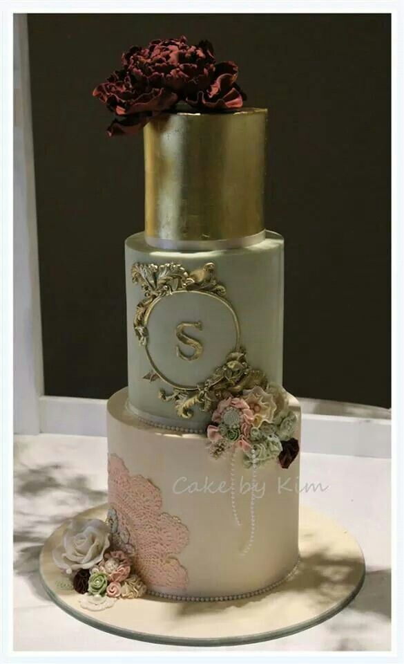 Fondant Cake With Gold Leaf, Monogram and Vintage Accents and Flowers.