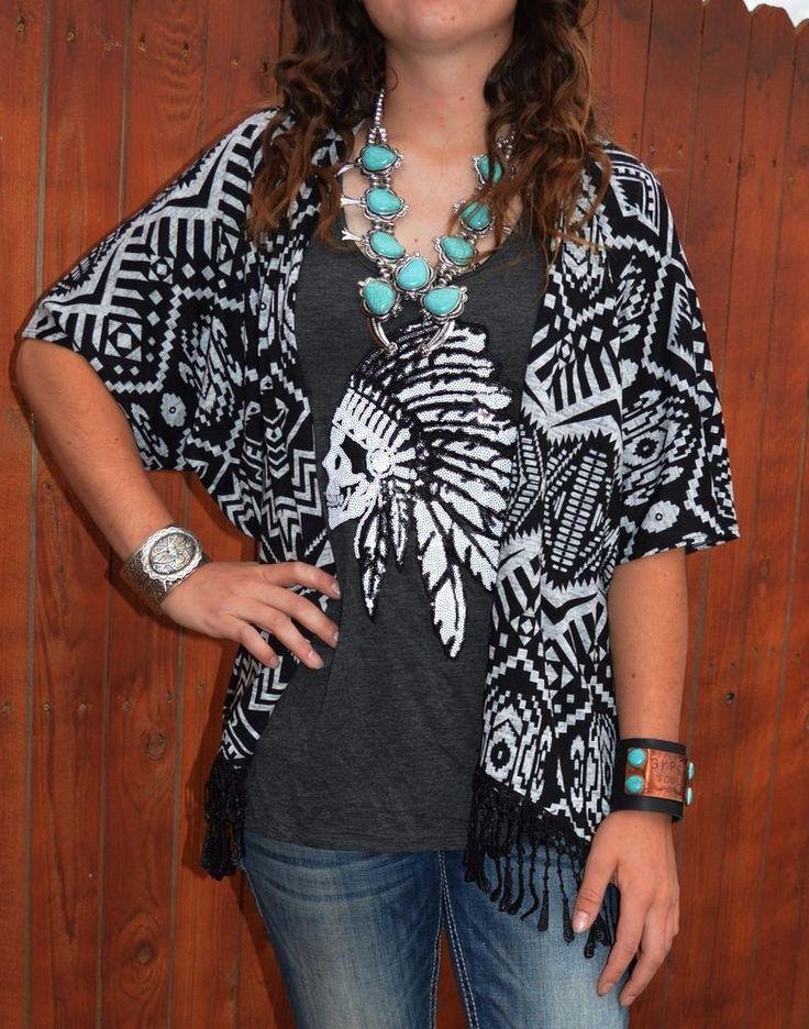Cowgirl  Kimono Cardigan Fringe AZTEC Tribal Knit NWT Western BOHO Gypsy SMALL #delirious #cardigantopper