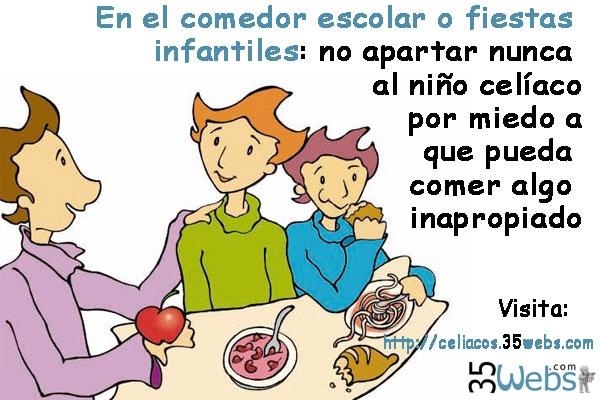 En el comedor escolar y las fiestas infantiles hay que explicarle al niño celíaco qué alimentos puede comer y cuáles no, pero nunca discriminarlo :)