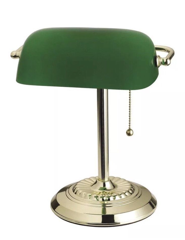 """Original Bankers Lamp. College dorm. Study desk. Traditional Glass Shade (Green). Solid Brass. Perfect for home office or library. Box may have wear and tear. 14"""" Height (356 mm). 
