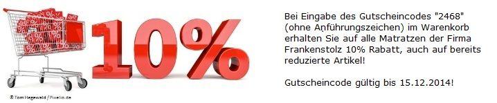 10% Rabatt auf alle Matratzen von Frankenstolz bis 15.12.2014