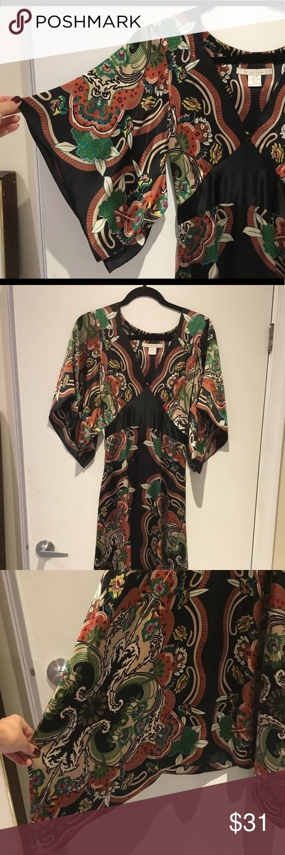 Kimono Satin-like Dress from Sale Off Fifth ♥️😺 Excellent condition Dress - very easily worn for wedding or reception. Love the kimono sleeves and belt 👀⭐️ Saks Off Fifth Dresses