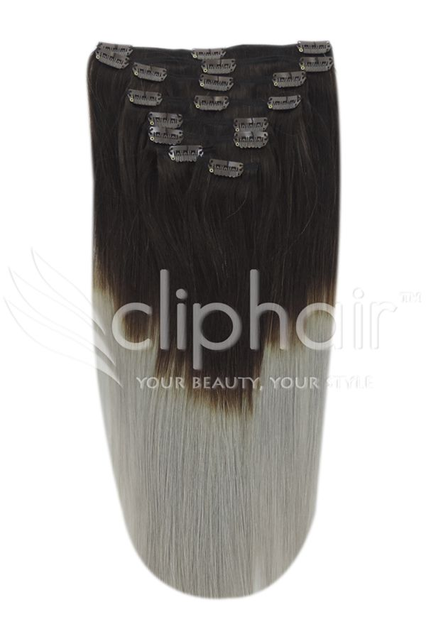 Dark Brown/silver Ombre (#t2/sg) 20 Inch Double Wefted Set Clip In …