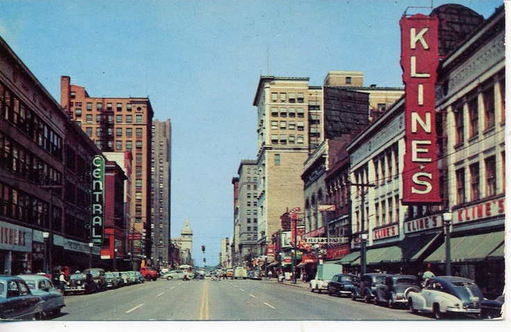 Youngstown Ohio 1940 S Cars Downtown Street Scene Vintage