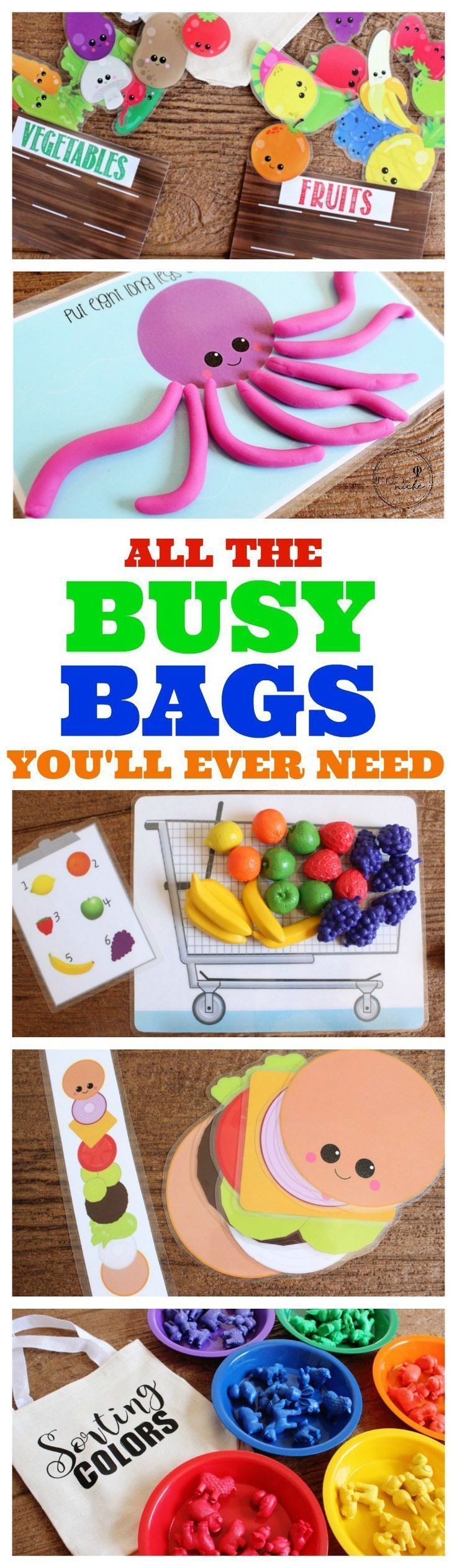 Adorable busy bag activities including shopping cart and grocery printables.