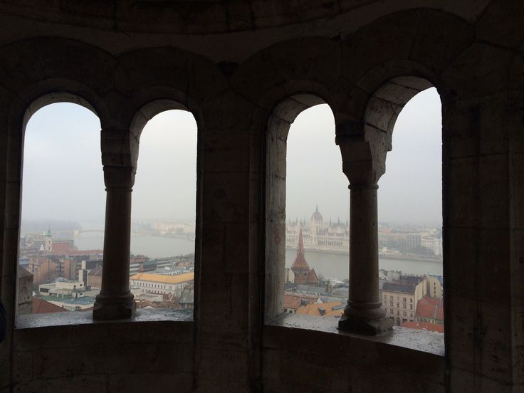 View of parliament from fishermans bastion, Budapest, Hungary