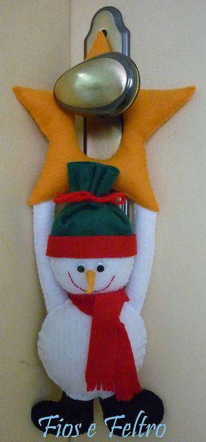colgador pomo de puerta: muñeco de nieve