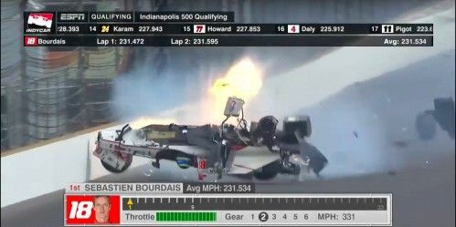 Sébastien Bourdais miraculously survived 230 MPH crash in Indy500 qualifying