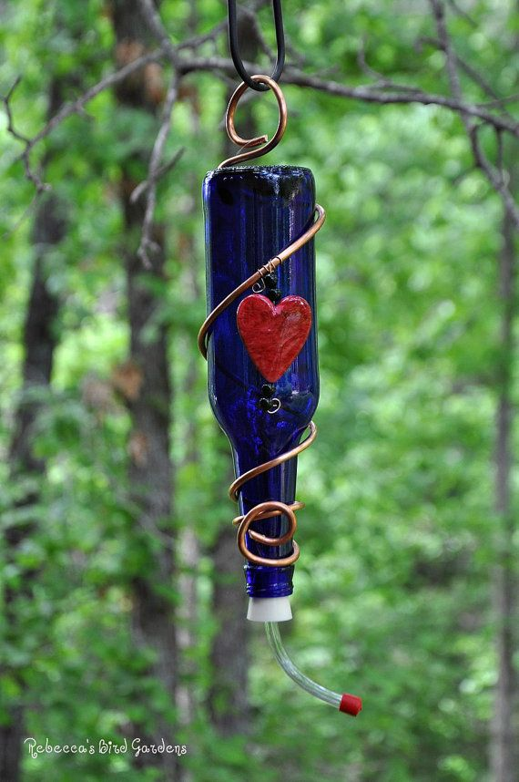 Glass Bottle Hummingbird Feeder By Rebeccasbirdgardens On
