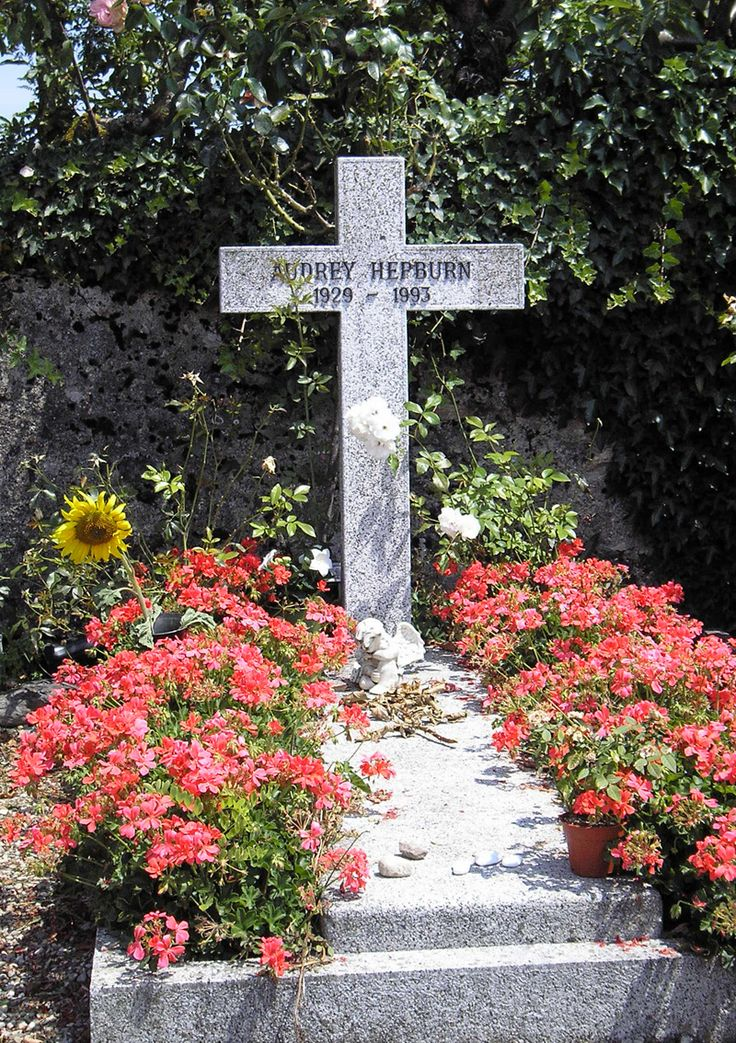 Tolochenaz Cemetery, Vaud, Switzerland. Grave of Audrey Hepburn: Hepburn was 63 when she died on January 20, 1993 of appendiceal cancer at her home in Switzerland.