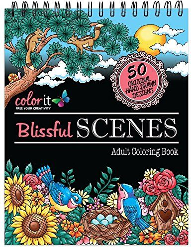 Spiral Bound Anti Stress Adult Coloring Book With 50 Scen