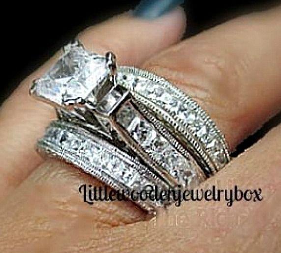 14k Sterling Silver Diamond Princess Cut Engagement Ring Wedding Bridal Band Set