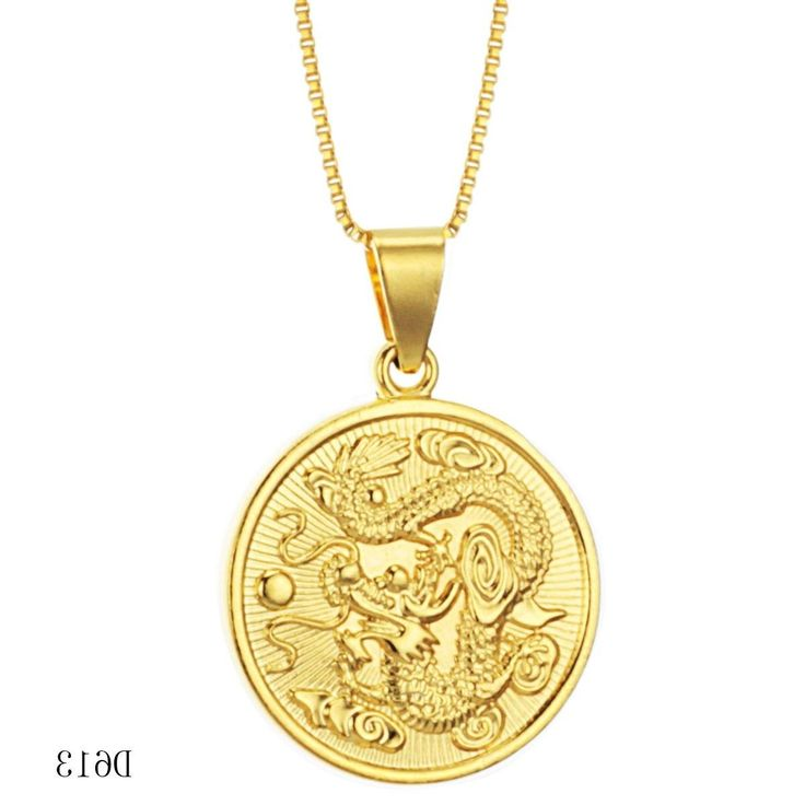 fashion jewellery Brand new design 18K gold necklace Circular dragon pendant 18K…