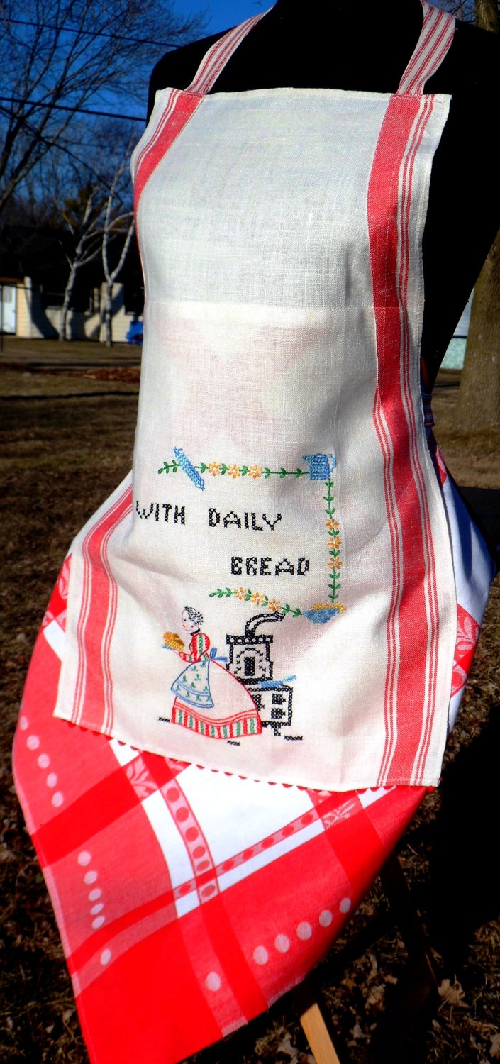 Ogilvies designs christmas aprons gloves amp tea towels - Daily Bread Apron Made Out Of A Vintage Tea Towel
