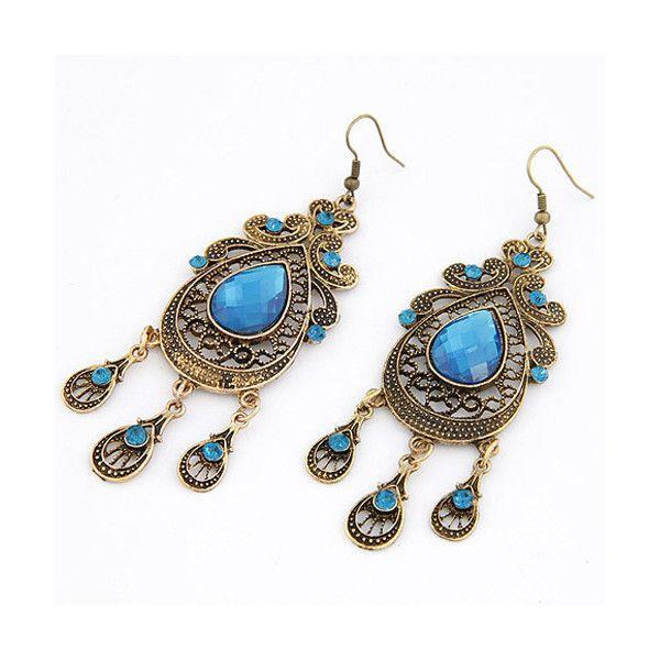 Zinc Alloy Drop Earring, with Glass, iron earring hook, Teardrop,... (6.28 HKD) via Polyvore featuring jewelry and earrings
