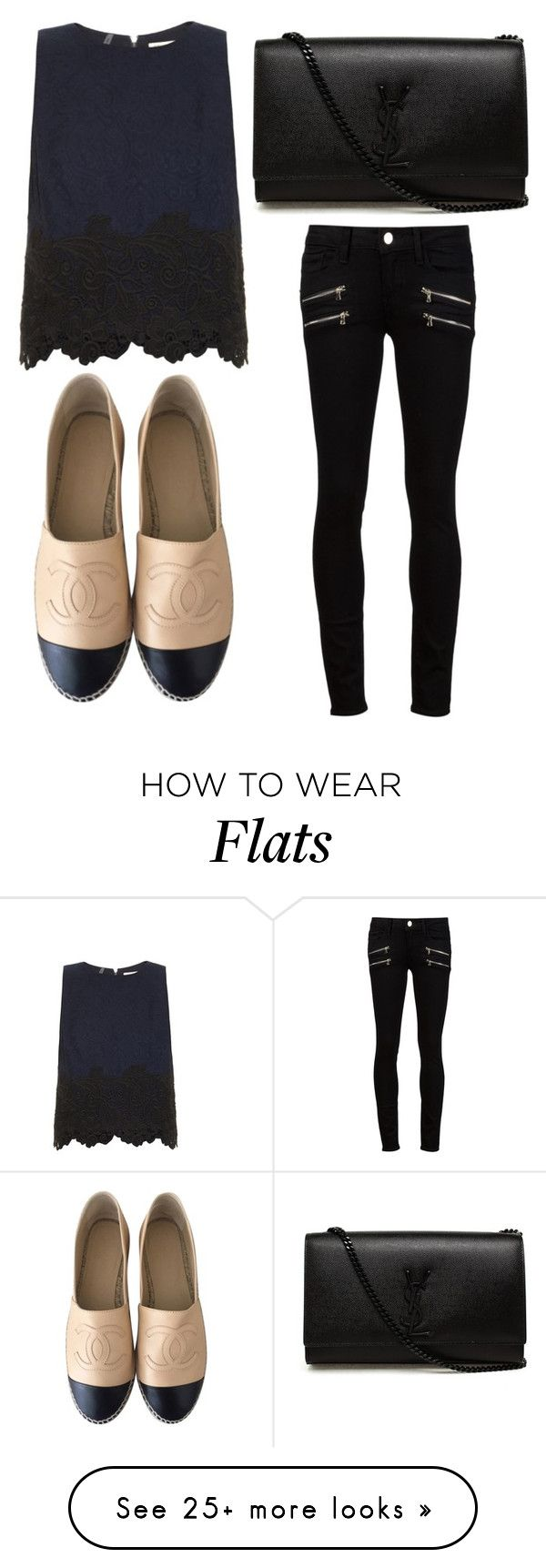 """""""Untitled #2579"""" by fiirework on Polyvore featuring Paige Denim, Rebecca Taylor, Chanel and Yves Saint Laurent"""