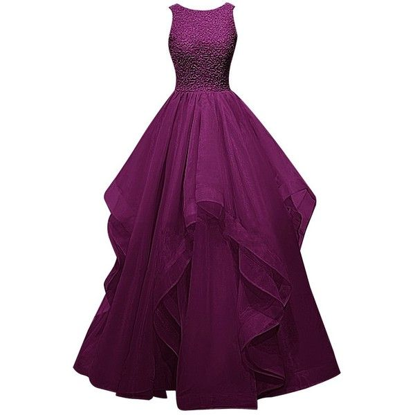 Dresstells Long Prom Dress Asymmetric Bridesmaid Dress Beaded Organza... ($120) ❤ liked on Polyvore featuring dresses, gowns, bridesmaid gowns, purple dress, purple prom dresses, long evening dresses and purple gown