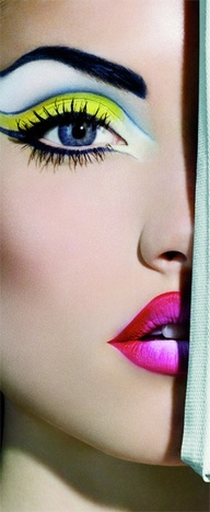 High Fashion Makeup… This would look so cool for color guard since these are our school colors! Haha