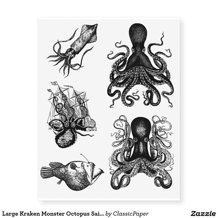 Large Kraken Monster Octopus Sailor Pirate Tats Temporary Tattoos