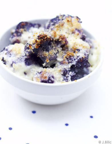 Recette Gratin de chou-fleur violet : Faites cuire les fleurettes de chou-fleur dans de l'eau bouillante salée pendant 15 mn, puis égouttez-les. Mettez-les ...