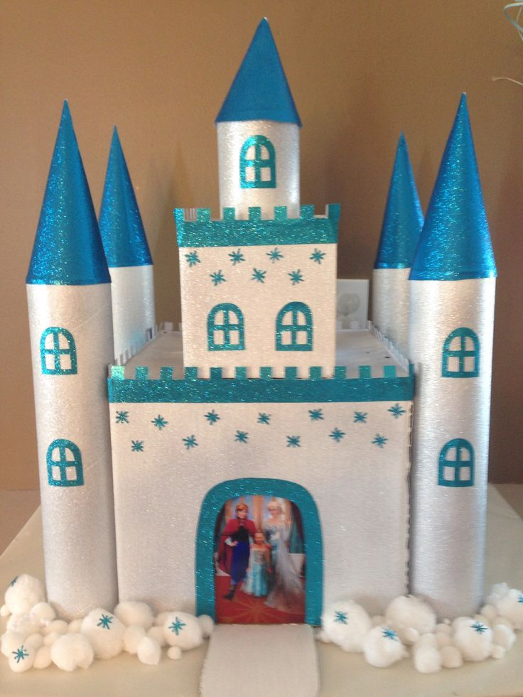 frozen themed valentine box   Frozen themed castle- Girls Valentine's Box