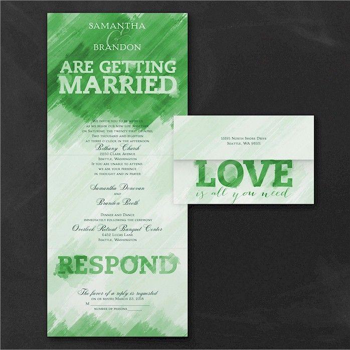 wedding invitations wording quotes%0A Watercolor Love Green Seal  u    n Send Wedding Invitation