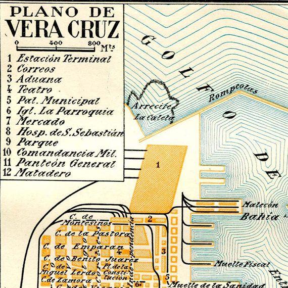 Vintage City Map Veracruz Mexico Street Plan by CarambasVintage, $16.00