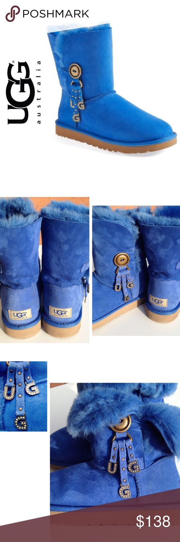 "Ugg Australia Azalea Charm Boots Size 7 (These run a little larger than std US Sizes. Will fit between 7 - 7 1/2) Worn just a handful of times. In excellent used condition!   Soles are slightly dirty (see pics) **Does not include box**  Description: Short boot with dangling charms and a buttoned shaft that can be cuffed for a cute variation on the look.  * 7 1/2"" boot shaft height. * Single button-and-loop closure. * Twinface sheepskin upper/genuine shearling or UGGpure™ wool lining/EVA…"