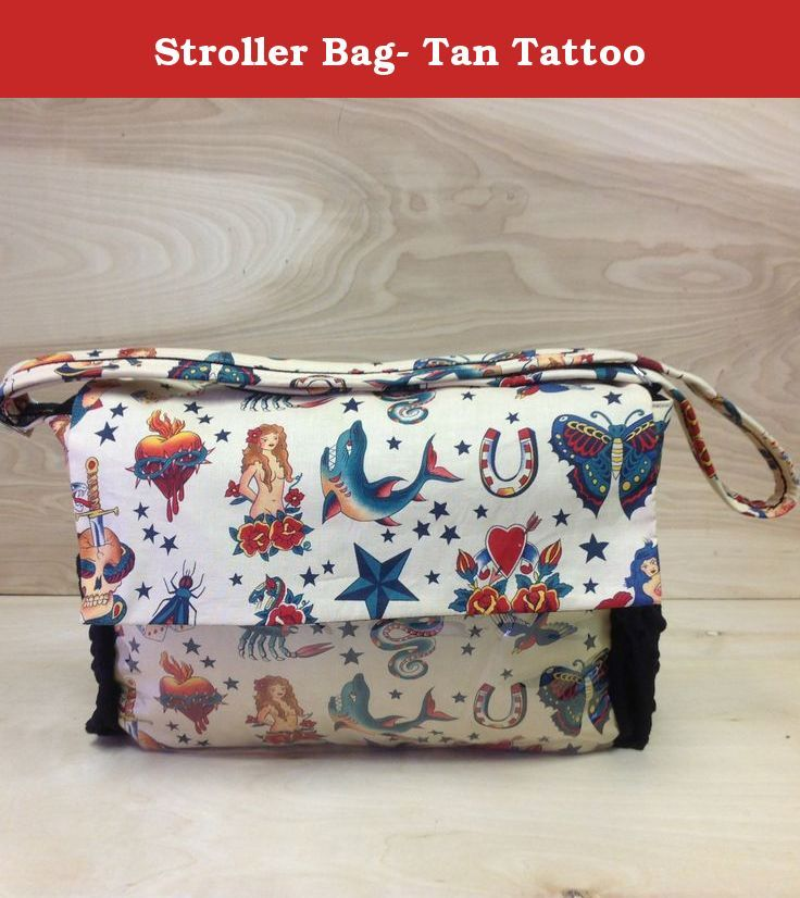 Stroller Bag- Tan Tattoo. These day bags are super convenient and are perfect for on the go! They are made with the highest quality fabric and are all handmade in the US.