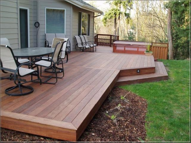 Deck Backyard Ideas exteriorlatest backyard deck design and landscaping using wooden railing ideas brilliant backyard small deck Patios Con Deck Small Backyard