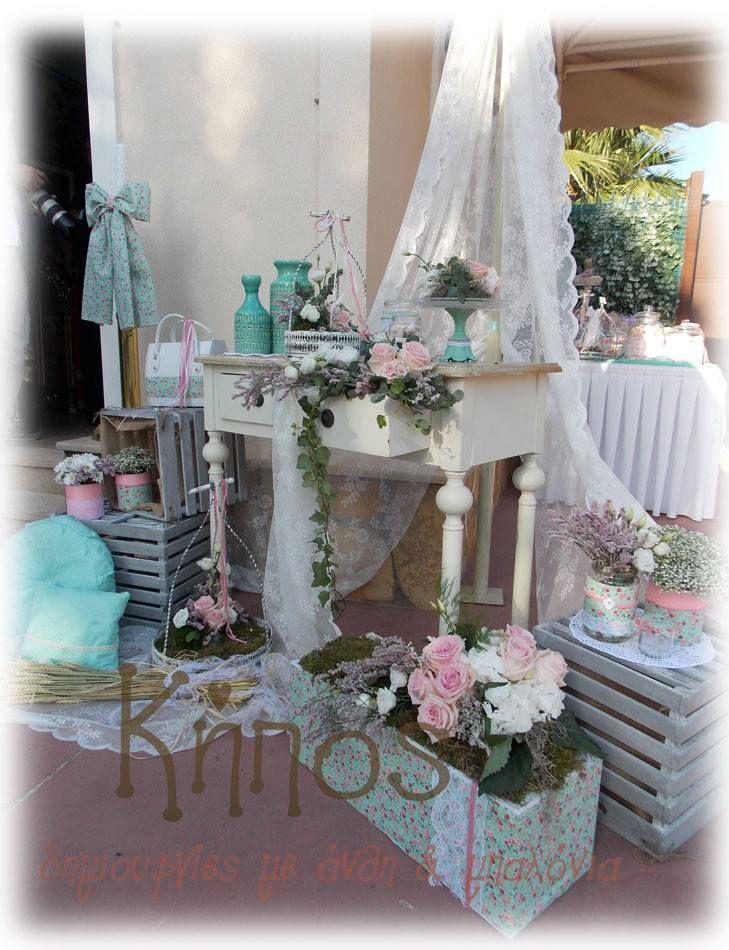 Στολισμός βάπτισης στο χρώμα της μέντας με floral στοιχεία