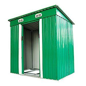 Amazon.com: Outsunny 6' x 4' Outdoor Metal Garden Storage Shed – Green and White: Home Improvement