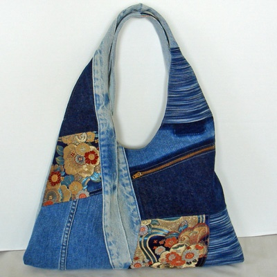An old pair of jeans into a unique hobo bag.